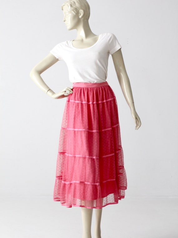 vintage pink tulle skirt, French crinoline style n