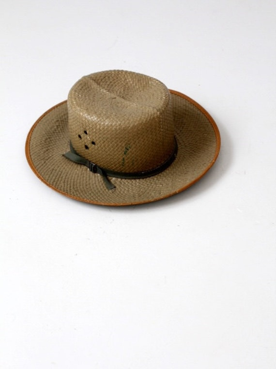 vintage safari hat, woven camp hat with grommets,