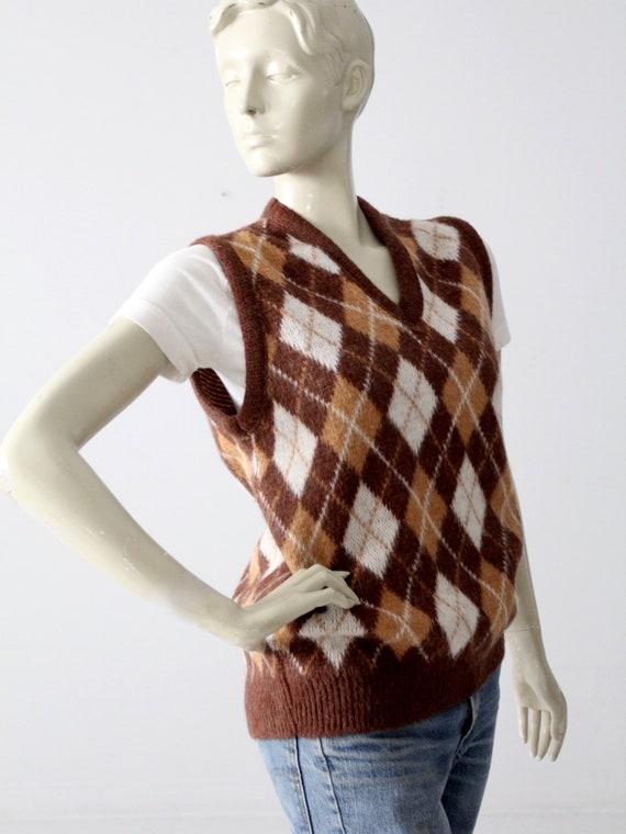 vintage mohair sweater vest, argyle vest - image 3