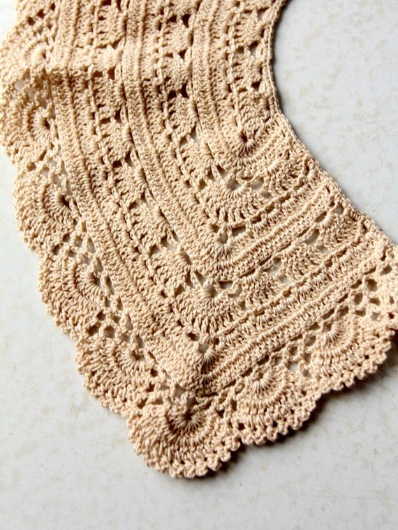 antique lace collar, hand crotchet - image 9