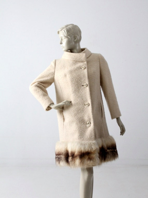 1960s boucle wool coat with fox fur trim