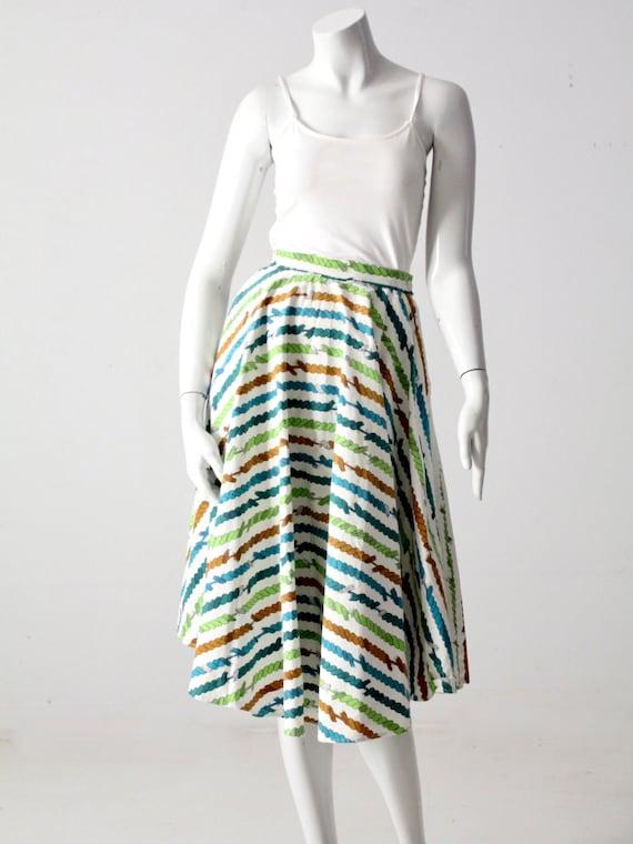 vintage circle skirt - novely print full skirt