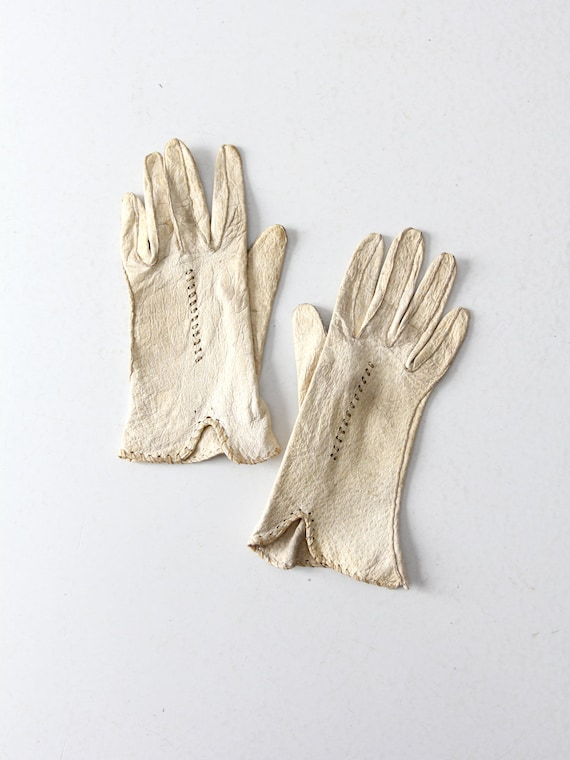 1920s white leather gloves, driving gloves