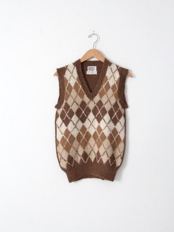 vintage Nordstroms alpaca sweater vest, argyle ve… - image 2