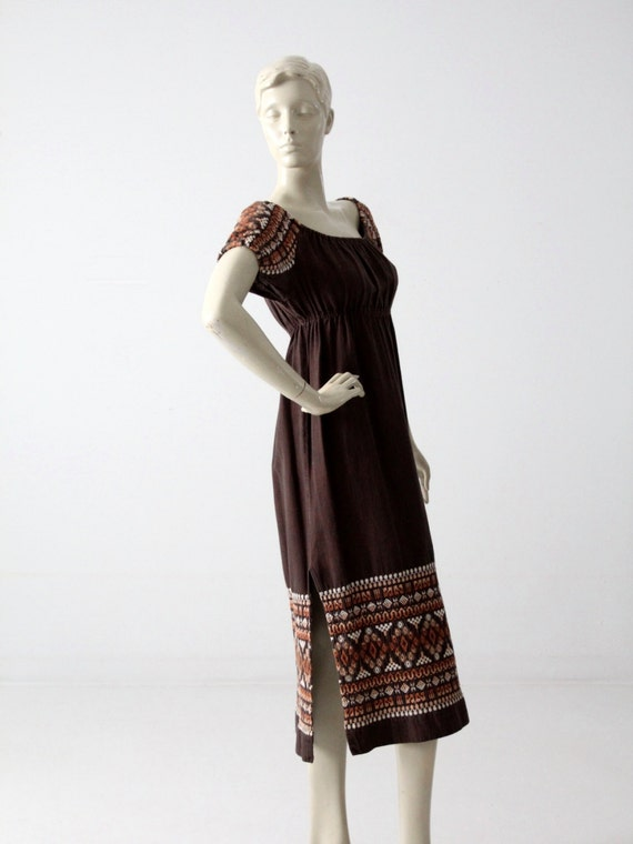 vintage 70s embroidered peasant dress - image 4
