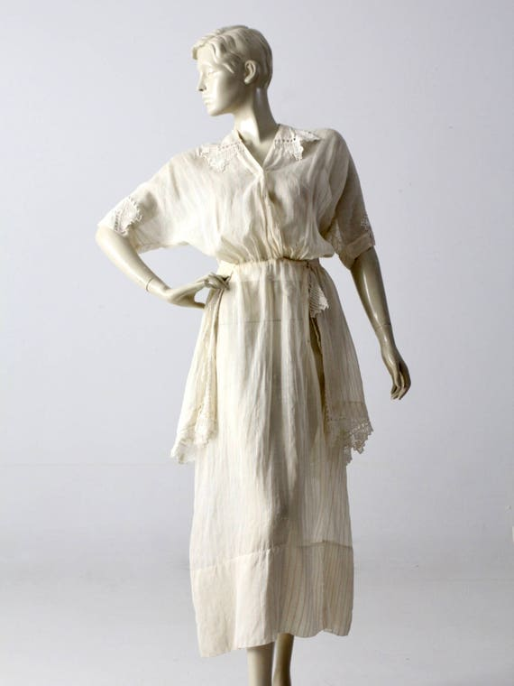 Edwardian tea dress, 1900s ivory dress - image 10