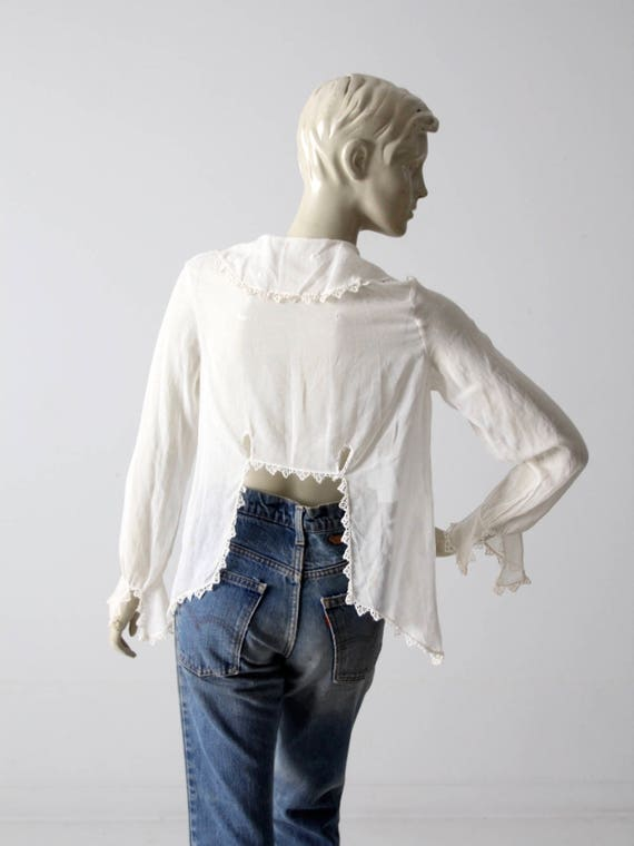 1900s blouse, Victorian white top, antique cotton… - image 4