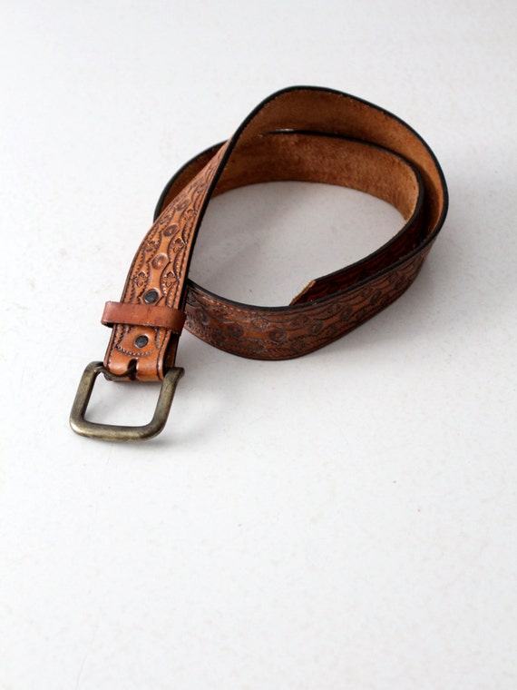 vintage tooled leather belt, western belt