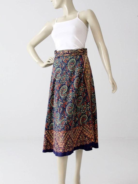 1970s wrap skirt, boho block print, hippie midi sk