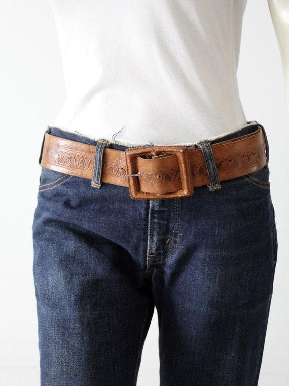 vintage leather belt, tooled brown belt with leat… - image 1