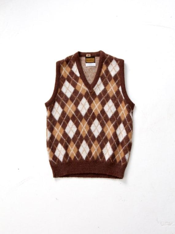 vintage mohair sweater vest, argyle vest
