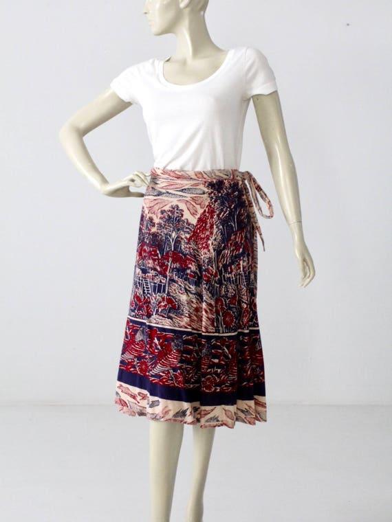 boho wrap skirt, 1970s India cotton skirt, vintage