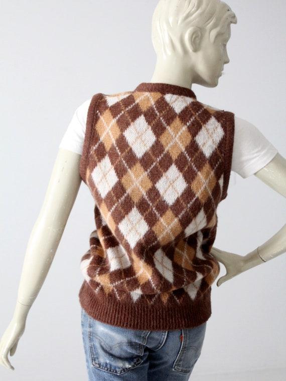 vintage mohair sweater vest, argyle vest - image 5