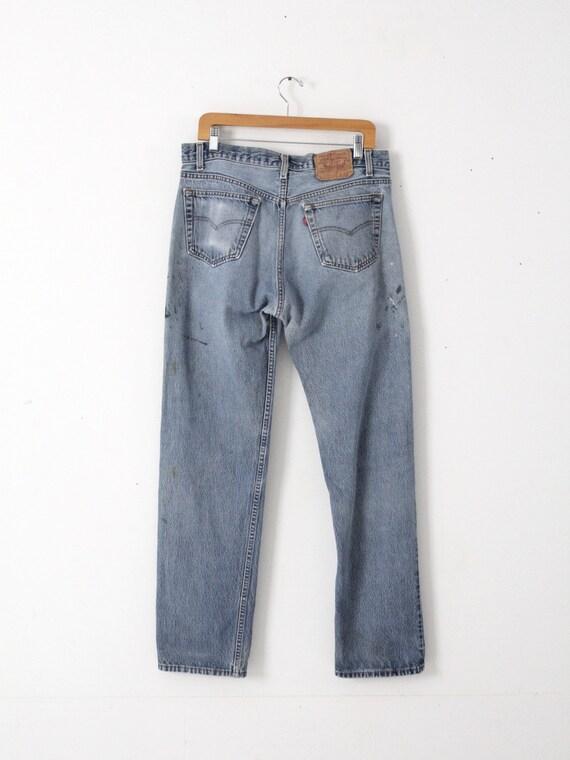 vintage 501s, Levis 501 denim jeans, distressed p… - image 3