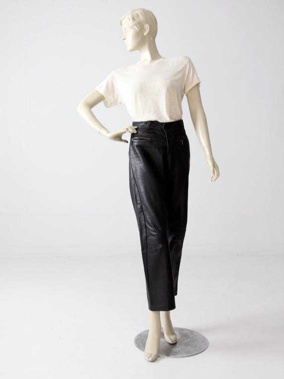 1970s black leather pants, vintage motorcycle pan… - image 3