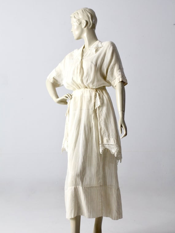 Edwardian tea dress, 1900s ivory dress - image 2