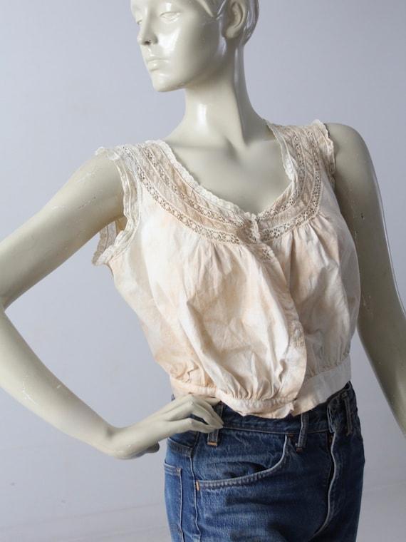 antique corset cover, Victorian cotton lace blouse - image 2