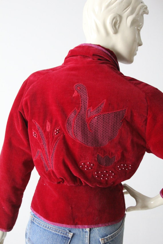 vintage velvet jacket with appliqué, red fitted b… - image 3