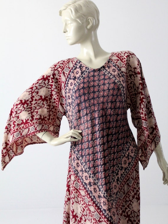 vintage block print caftan, 70s India cotton hippi