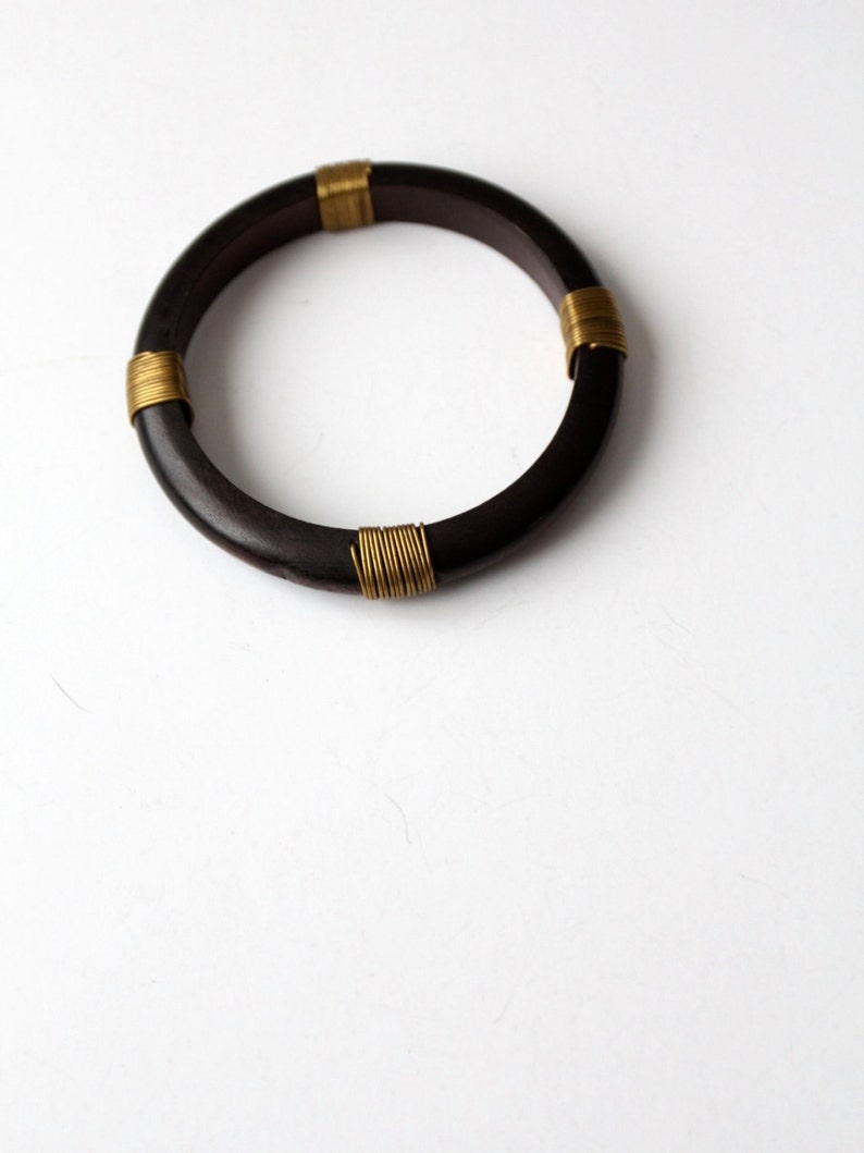 vintage black wood bangle with brass wire wrap