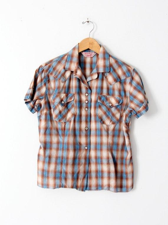 H Bar C women's shirt, 60s western rockabilly blo… - image 6