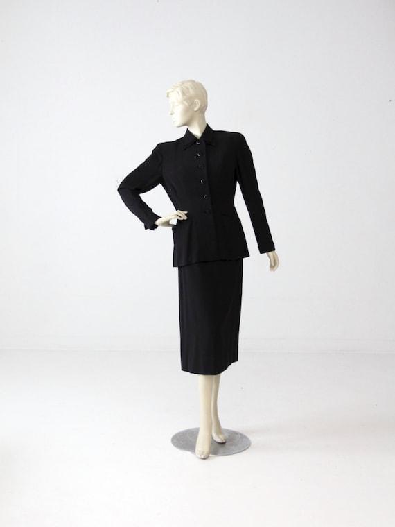 1950s Gucci women's suit, vintage black skirt suit