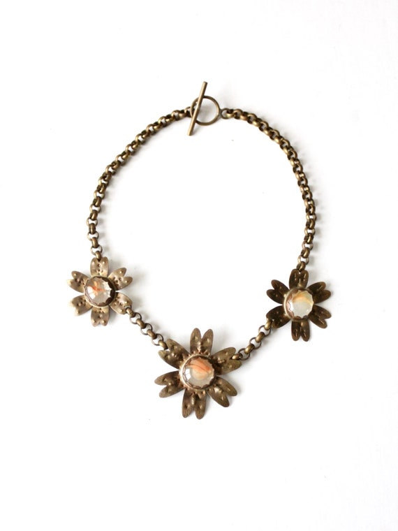vintage brutalist brass floral necklace