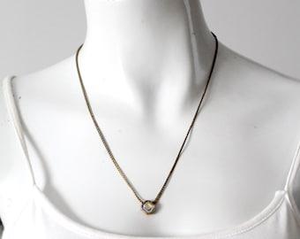vintage Avon blue rhinestone pendant necklace