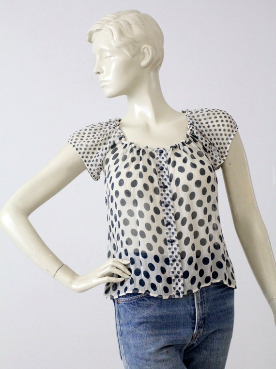 polka dot blouse, vintage sheer top