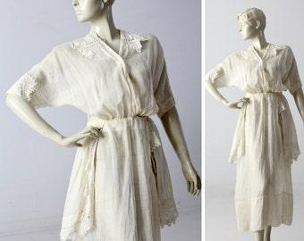 Edwardian tea dress, 1900s ivory dress