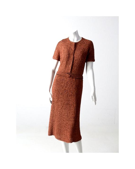 vintage 1940s knit ribbon dress - image 1