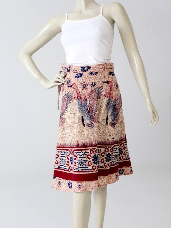 1970s India cotton wrap skirt, bird print - image 1