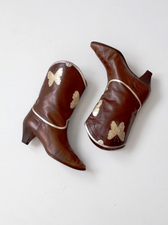 bottes Vintage papillon en cuir italien, bottes talon talon talon haut taille pour femmes 8 | Matériaux De Grande Qualité  59391a