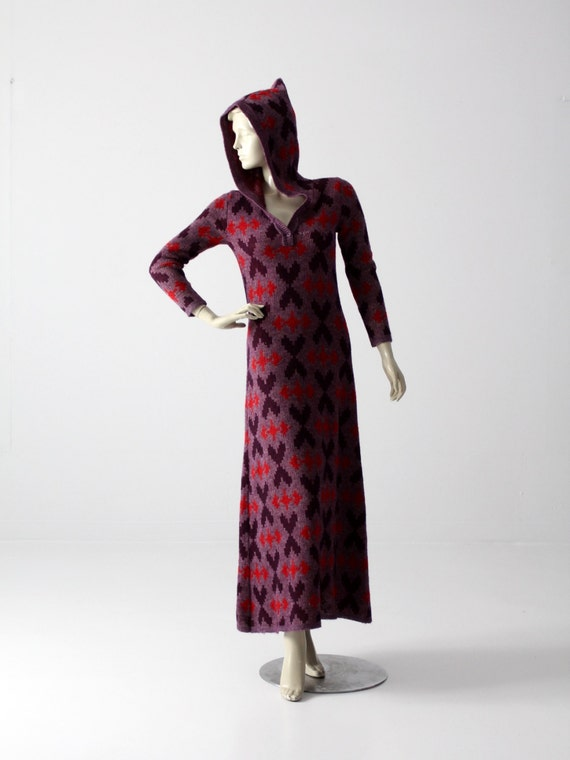1970s knit maxi dress, surf cover up, purple hoode