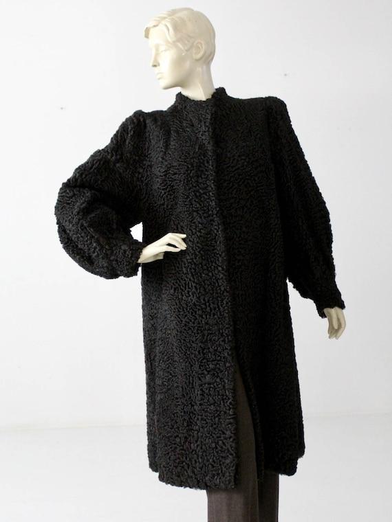 vintage Persian lamb fur coat, black curly lamb fu