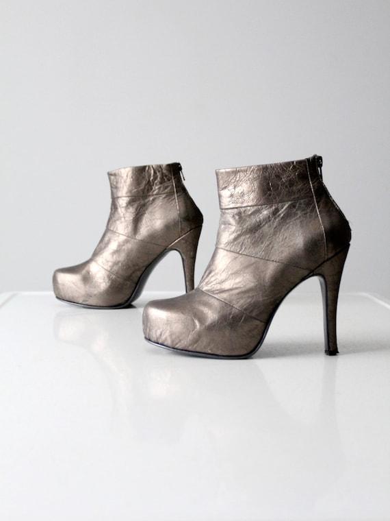vintage platform boots, silver ankle boots size 8.