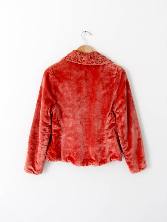 vintage velvet blazer, coral velvet jacket - image 2