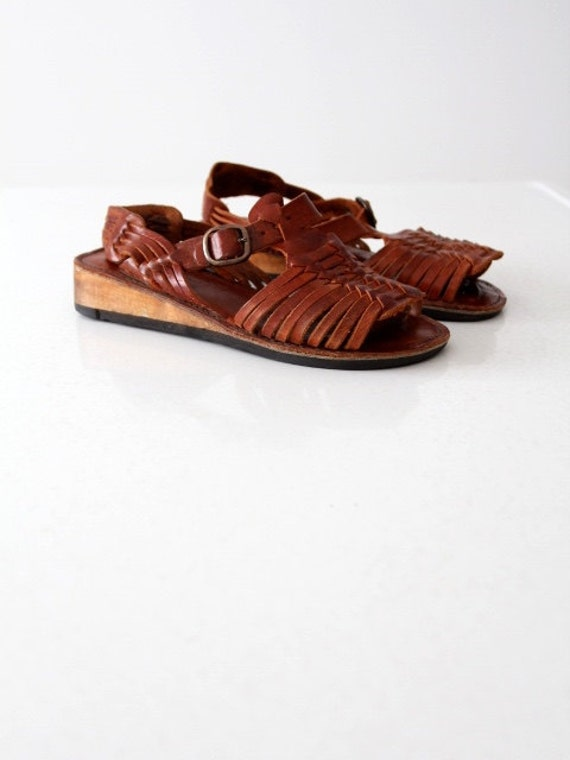 vintage leather huaraches sandals, women's 7.5
