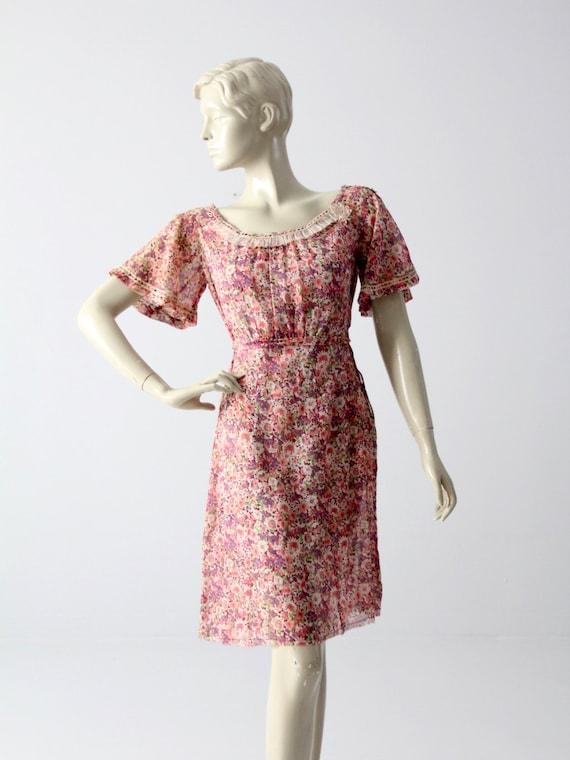 1930s cotton dress, vintage floral day dress