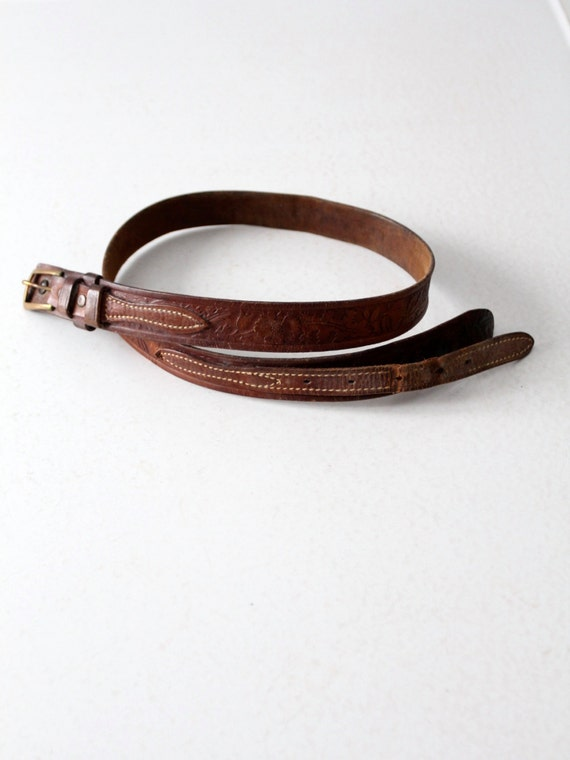 vintage overlay leather belt, western double strap