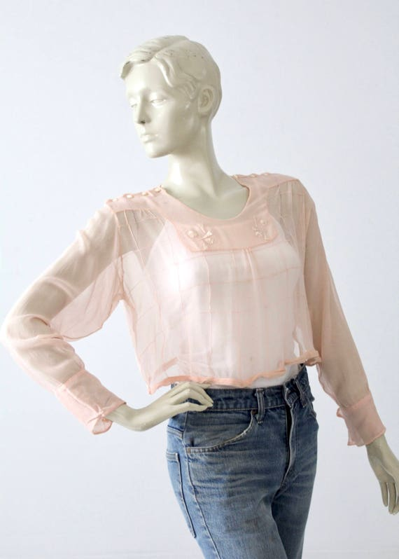 antique silk blouse, Edwardian pink top - image 1