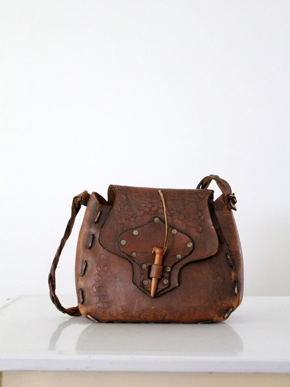 1960s leather bag, hippie purse