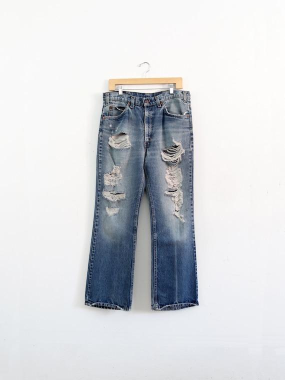 Levi's 517 denim jeans, 1970s vintage distressed j