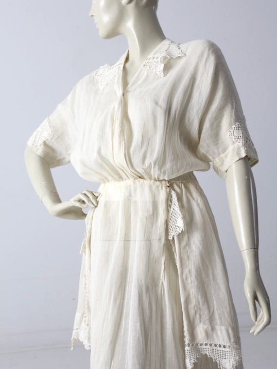 Edwardian tea dress, 1900s ivory dress - image 9