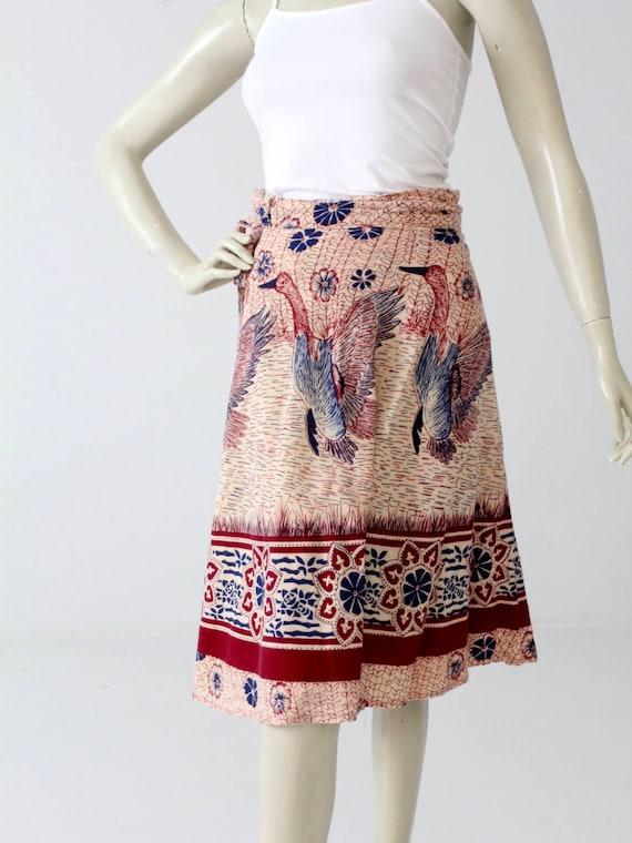 1970s India cotton wrap skirt, bird print - image 2