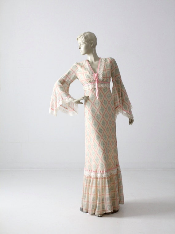 vintage 70s maxi dress, calico long prairie dress