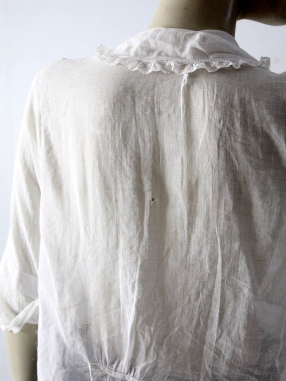 Edwardian blouse, antique white cotton top - image 6
