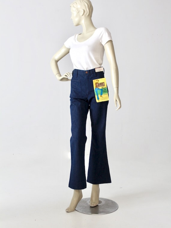 vintage 70s Maverick jeans, NOS bell bottoms with