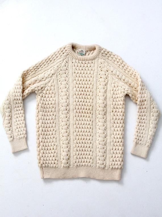 vintage fisherman sweater, Irish wool sweater