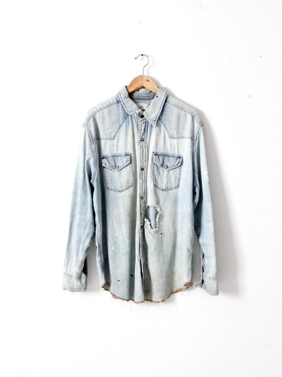 vintage distressed Levis denim shirt XXL
